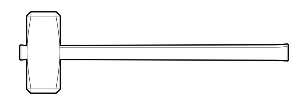 sledgehammer - illustration on a white background. locksmith tool - coloring