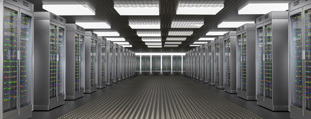 Fotoväggar - Servers. Server room data center. Backup, hosting, mainframe, farm and computer rack with storage information. 3d render