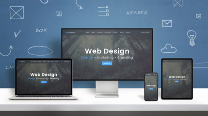 Web design studio web site responsive design presentation on computer display, laptop, smart phone...