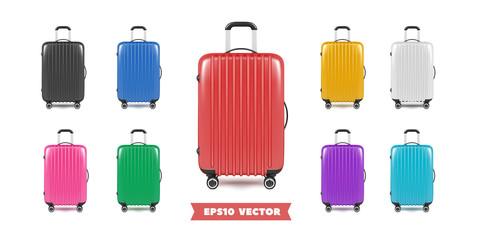 Fototapeta Travel bag luggage realistic collection. Vector illustration. obraz