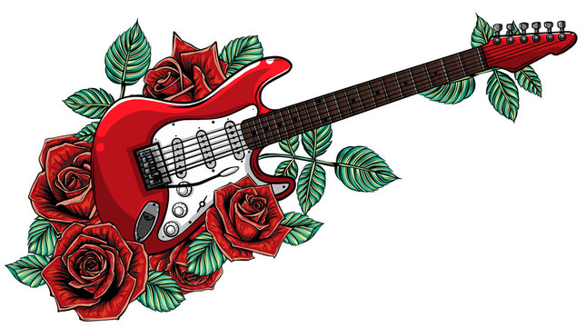 Electric guitar, roses and music notes. vector