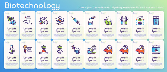 Bio technologies color linear vector icons set. Biotech concept. Editable stroke