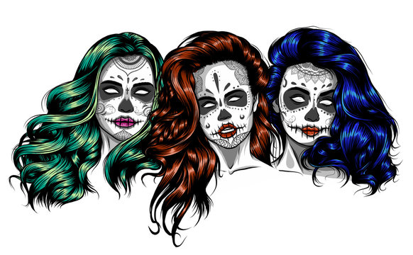 woman with sugar skull makeup, day of the dead vector
