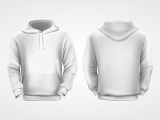 Wall Mural - White hoodie sweatshirt, sportswear mockup