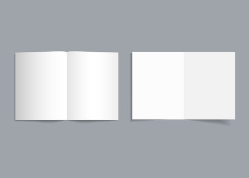 Mockup bifold brochure. White cover of flyer with shadow. Paper template booklet or leaflet for realistic magazine, pamphlet, card, flyer. Open page catalog format of a4, a3, a5. Empty blank. Vector
