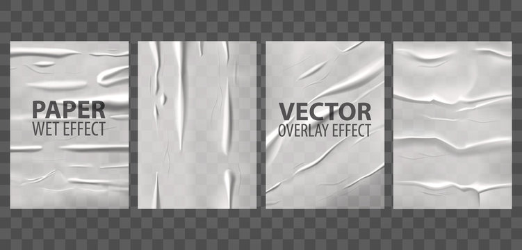 Badly glued paper, wet wrinkles overlay effect