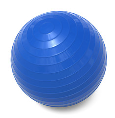 Blue fitness ball isolated 3d rendering