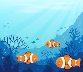 Fotorolgordijn Voor kinderen Ocean underwater theme background 7