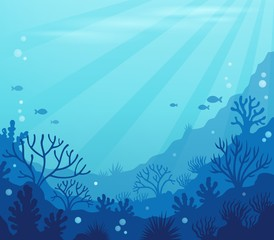 Fotorolgordijn Voor kinderen Ocean underwater theme background 8