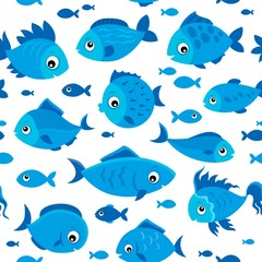 Fotorolgordijn Voor kinderen Seamless background stylized fishes 6