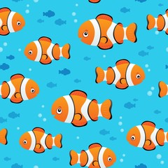 Fotorolgordijn Voor kinderen Seamless background stylized fishes 7