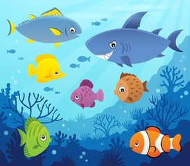 Fotorolgordijn Voor kinderen Stylized fishes topic image 7