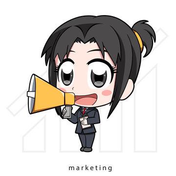 Chibi marketing, girl with megaphone, business girl, Vector illustration Cartoon