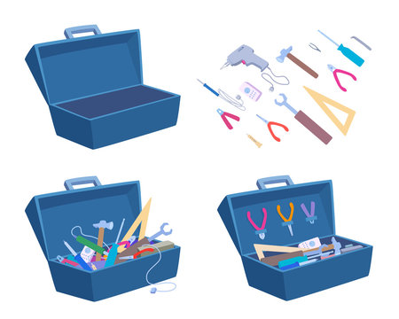 An empty and a full toolbox. Working tools, open box, instrument collection icons. Vector cartoon illustration set isolated on a white background.