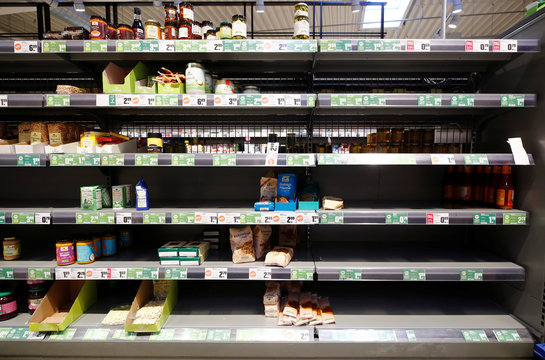 Empty supermarket shelfs due to coronavirus-related panic buys over the weekend in Bad Honnef