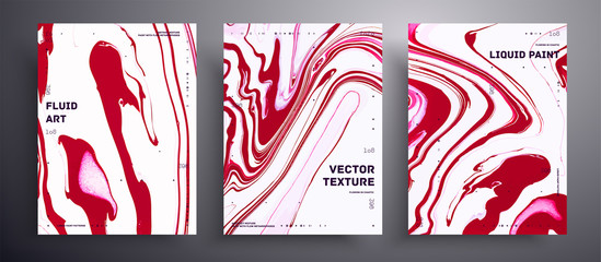 Fototapete - Abstract vector placard, texture set of fluid art covers. Beautiful background that applicable for design cover, poster, brochure and etc. Pink and white unusual creative surface template