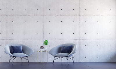 The interior design of loft living room and lounge space hall area and concrete wall texture background