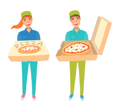 Food delivery service worker. Young adult people holding a box of tasty pizza. A boy and a girl in a baseball cap, polo shirt, and colored jeans. Vector cartoon illustration.