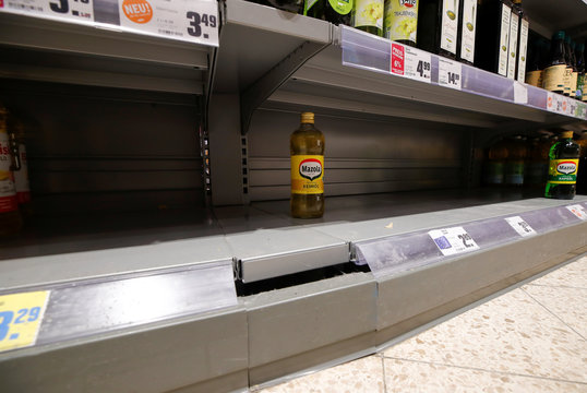 Empty supermarket shelfs due to coronavirus (COVID-19) related panic buys over the weekend in Bad Honnef