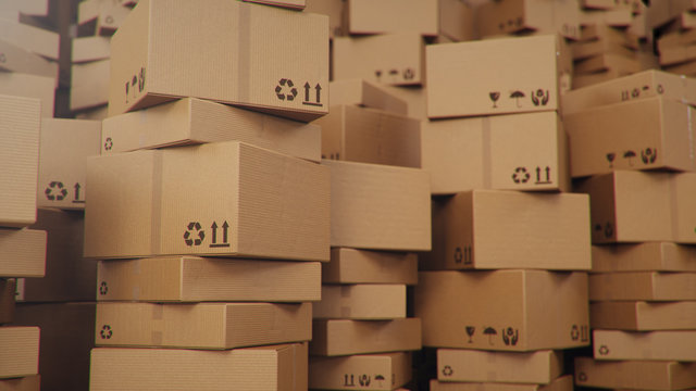 3D illustration background of cardboard boxes. Heap of cardboard boxes for the delivery of goods, parcels. Warehouse filled with boxes. Packages delivery, parcels transportation system concept.