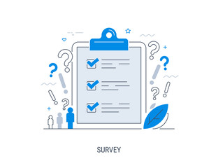 Survey. Vector illustration. Flat concept with quality test and satisfaction report. Feedback from customers or opinion form