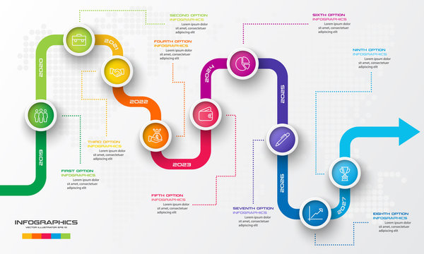 Timeline infographic template,Business concept with 9 options,Vector illustration.