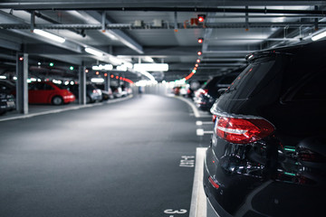 Underground garage or modern car parking with lots of vehicles Wall mural