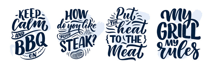 Lamas personalizadas con tu foto Set with Bbq fun slogans, great design for any purposes. Lettering for family dinner design. Funny print, poster and banner with phrase about barbeque. Vector