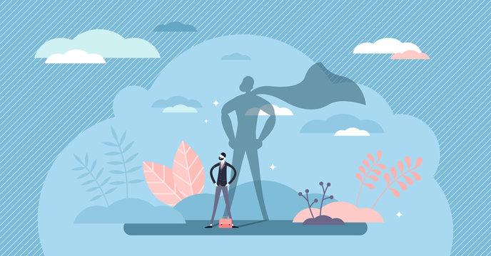 Superhero businessman concept, flat tiny person vector illustration