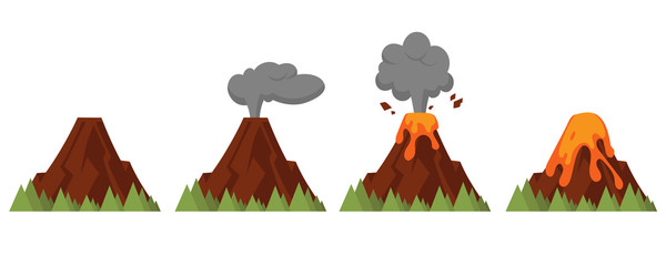 Vector set of volcanoes of varying degrees of eruption. Flat style illustration with isolated objects.