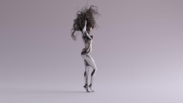 Silver Sexy Woman Bad Hair Day 3d illustration 3d render
