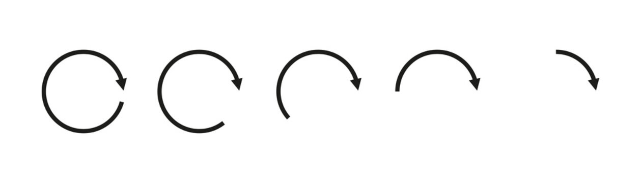 Arrow round icon vector. Black arrow circle recycle design. Black circle arrow. Recycle set icon vector.
