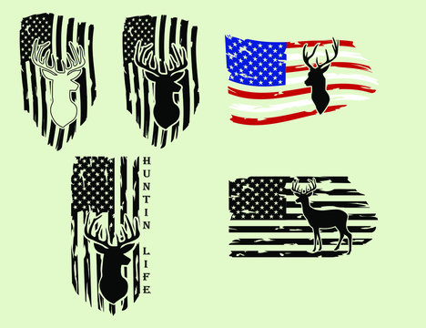 Distressed American deer hunting Flag , hunter, EPS 10, USA flag