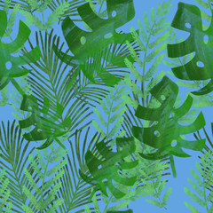 Keuken foto achterwand Tropische Bladeren background with green tropical leaves. Seamless pattern. Monstera, palm leaves, fern, banana leaves. Print, fabric design.