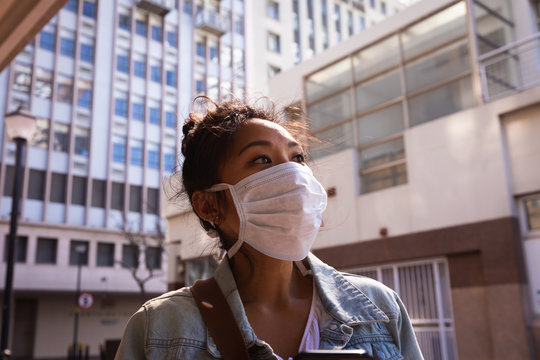 Woman wearing a Corona Virus face mask