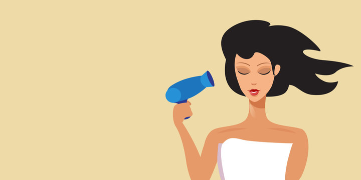 young brunette woman drying hair with hairdryer hairstyle concept portrait horizontal vector illustration