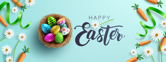 Easter poster and banner template with Fower, carrots and Easter eggs in the nest on table.Greetings and presents for Easter Day in flat lay styling.Promotion and shopping template for Easter Day