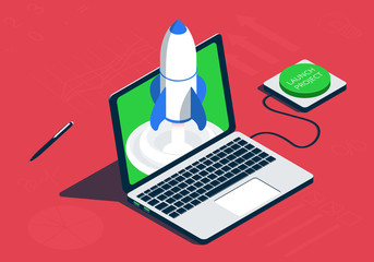 Isometric laptop with rocket. Launch project concept.