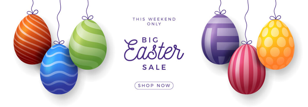 Easter egg sale horizontal banner. Easter card with realistic eggs hang on a thread, colorful ornate eggs on white modern background. Vector illustration. Place for your text