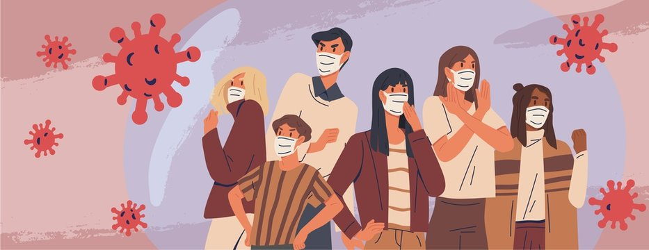 Crowd of people wearing medical masks banner. Preventive measures, human protection from pneumonia outbreak. Coronavirus epidemic concept. Respiratory disease, virus spread. Vector illustration