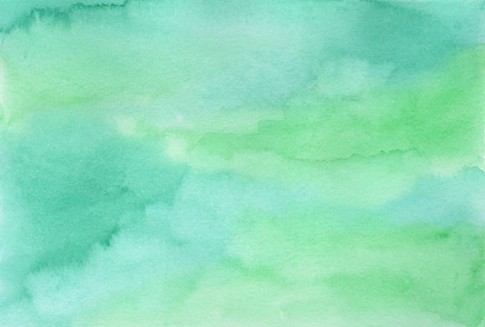 Tender hand drawn emerald and green textured watercolor background. Spring, easter mint and blue watercolour texture for nature concept wallpaper, greeting card design, banner cover