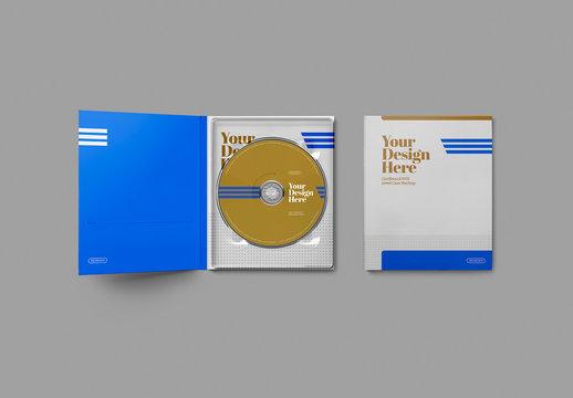 CD/DVDs with 2 Cardboard Jewel Cases Mockup