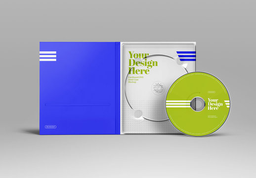 CD/DVDs with Cardboard Jewel Case Mockup