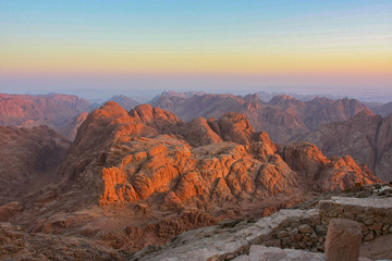 Poster Cappuccino Amazing colorful sunrise on Mount Sinai, rich colors, beautiful sunrise in Egypt, beautiful view from Mount Sinai, Mount Moses.
