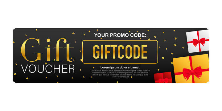 Template red and blue gift card. Vector Gift Voucher with Coupon Code. Discount voucher. Vector stock illustration.