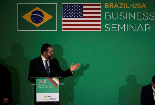 Brazilian Foreign Minister Ernesto Araujo speaks during the Brazil-USA Business Relations Seminar, in Miami