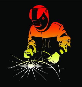 Welder weld a large pipe by welding. Image of a welder on a black background.