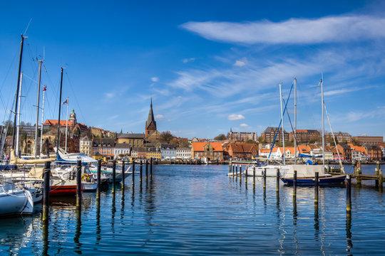 Boote im Stadthafen Stadthafen in Flensburg