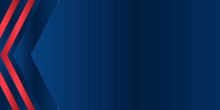 Abstract red dark navy blue white presentation background with arrow to the left.