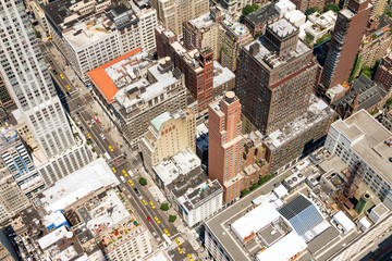 Fotobehang New York Overhead view of taxis in rush hour traffic on 5th Avenue in Midtown Manhattan, New York City